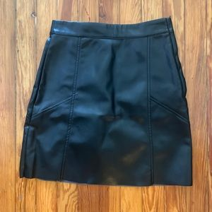 High Waisted Black Faux Leather Skirt
